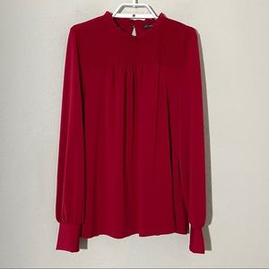 Adrianna Papell Ruffle High Neck Blouse Red Sz M